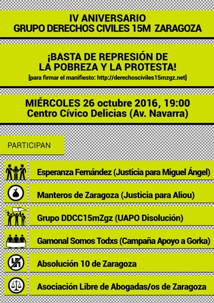 Nuestra violencia es existir. IV Aniversario grupo derechos civiles 15M Zaragoza