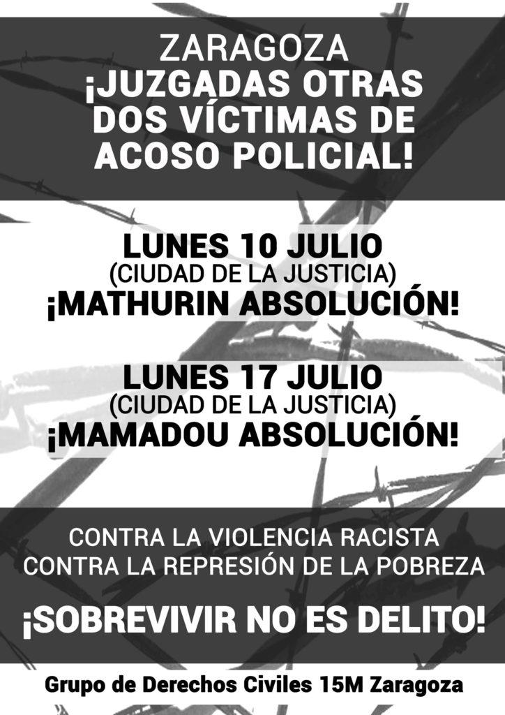 Juicio a dos víctimas de acoso policial en Zaragoza. Lunes 10 y 17 de Julio.