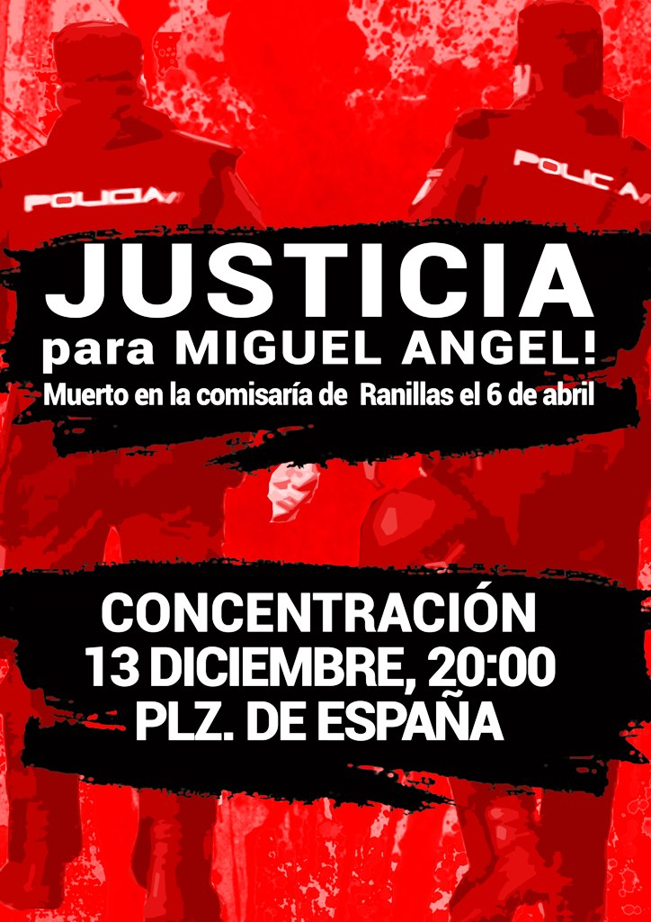 Concentración #JusticiaParaMiguelAngel 13 de Diciembre, a las 20 h. Plaza de España