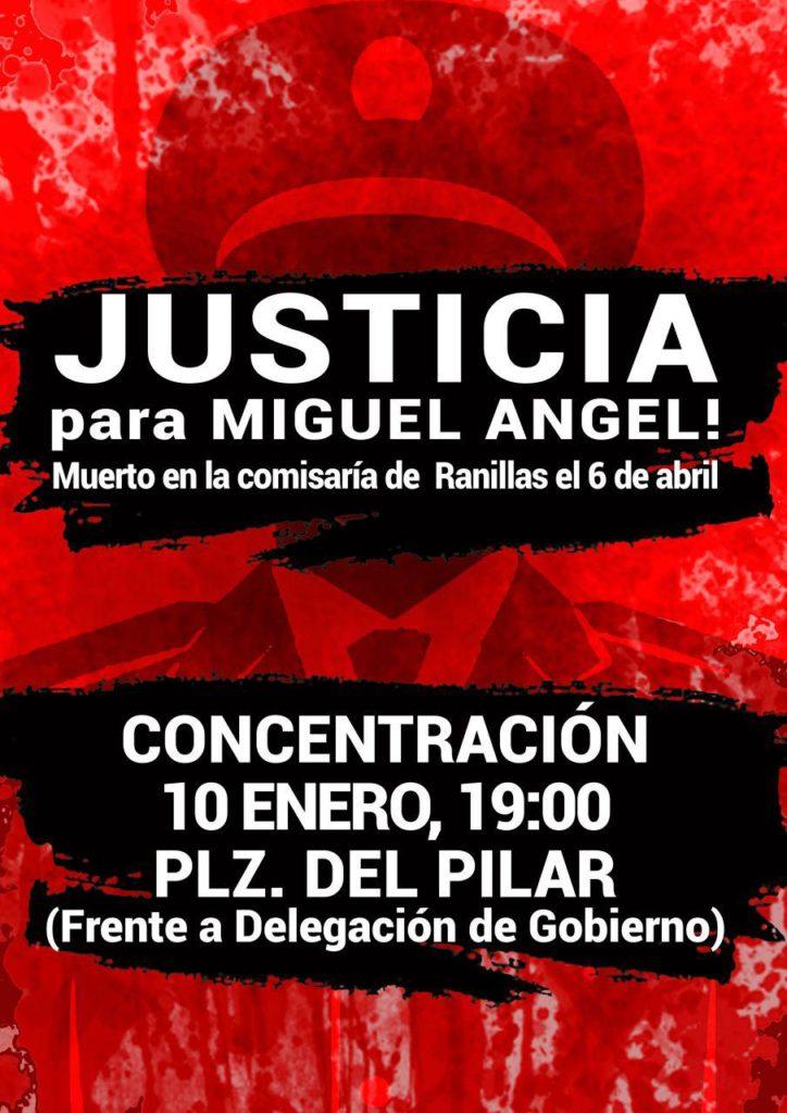 2017 con #JusticiaParaMiguelAnge. 10 de Enero, 19 horas, Plaza del Pilar, frente a la Delegación del Gobierno.