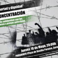 Libertad y dignidad para los presos y presas palestinos. Concentración jueves 18 de mayo en Zaragoza