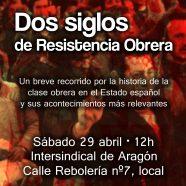 PRESENTACIÓN 'DOS SIGLOS DE RESISTENCIA OBRERA'. Sábado 29 de abril, a las 12h