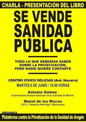 Martes 6 junio – Presentación del libro: «Se vende sanidad pública»