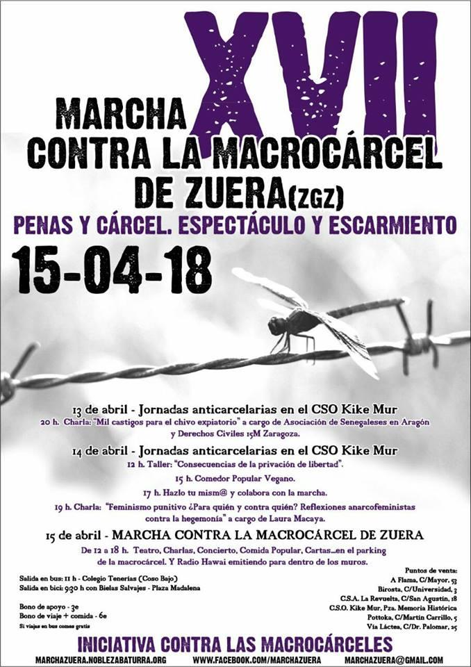 Marcha Contra la macrocarcel de Zuera. 15 de Abril de   2018.