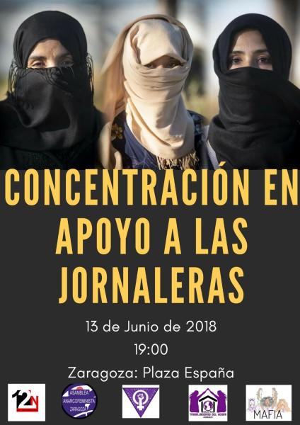 Zaragoza se concentra en apoyo a las jornaleras de la fresa de Huelva