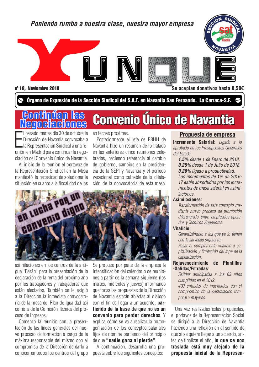 YUNKE nº 18. Revista informativa de la sección sindical del SAT en Navantia. «Poniendo rumbo a nuestra clase, nuestra mayor empresa»