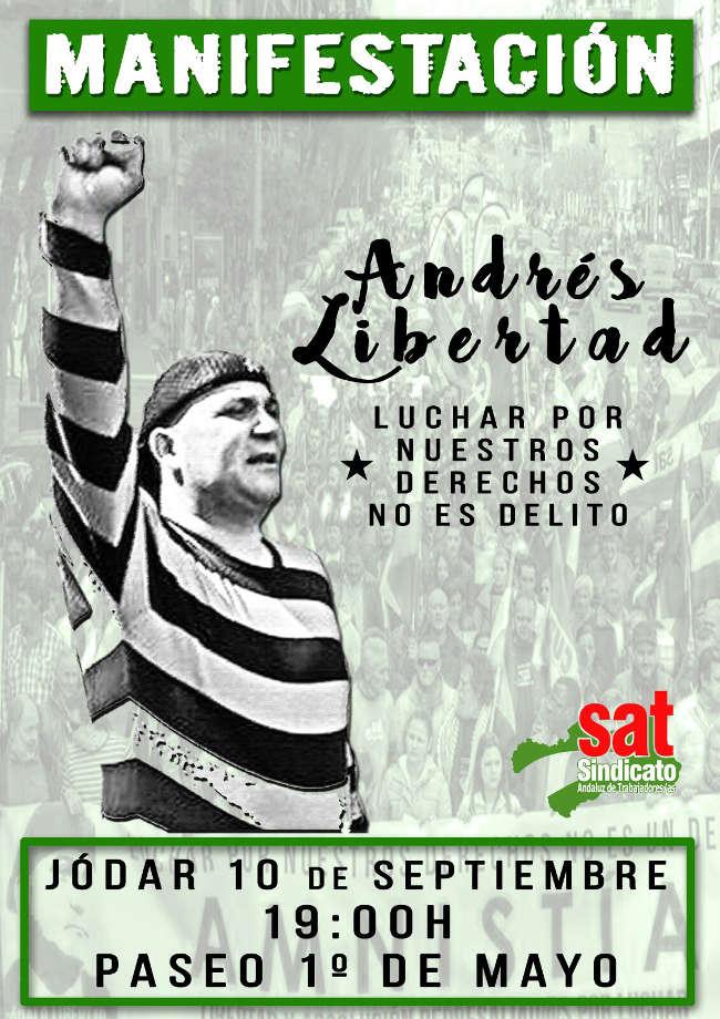 10 de septiembre: Manifestación en Jódar por la libertad de Andrés Bodálo