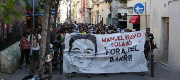 Una manifestación muy concurrida recorrió el barrio de Gracia en Barcelona