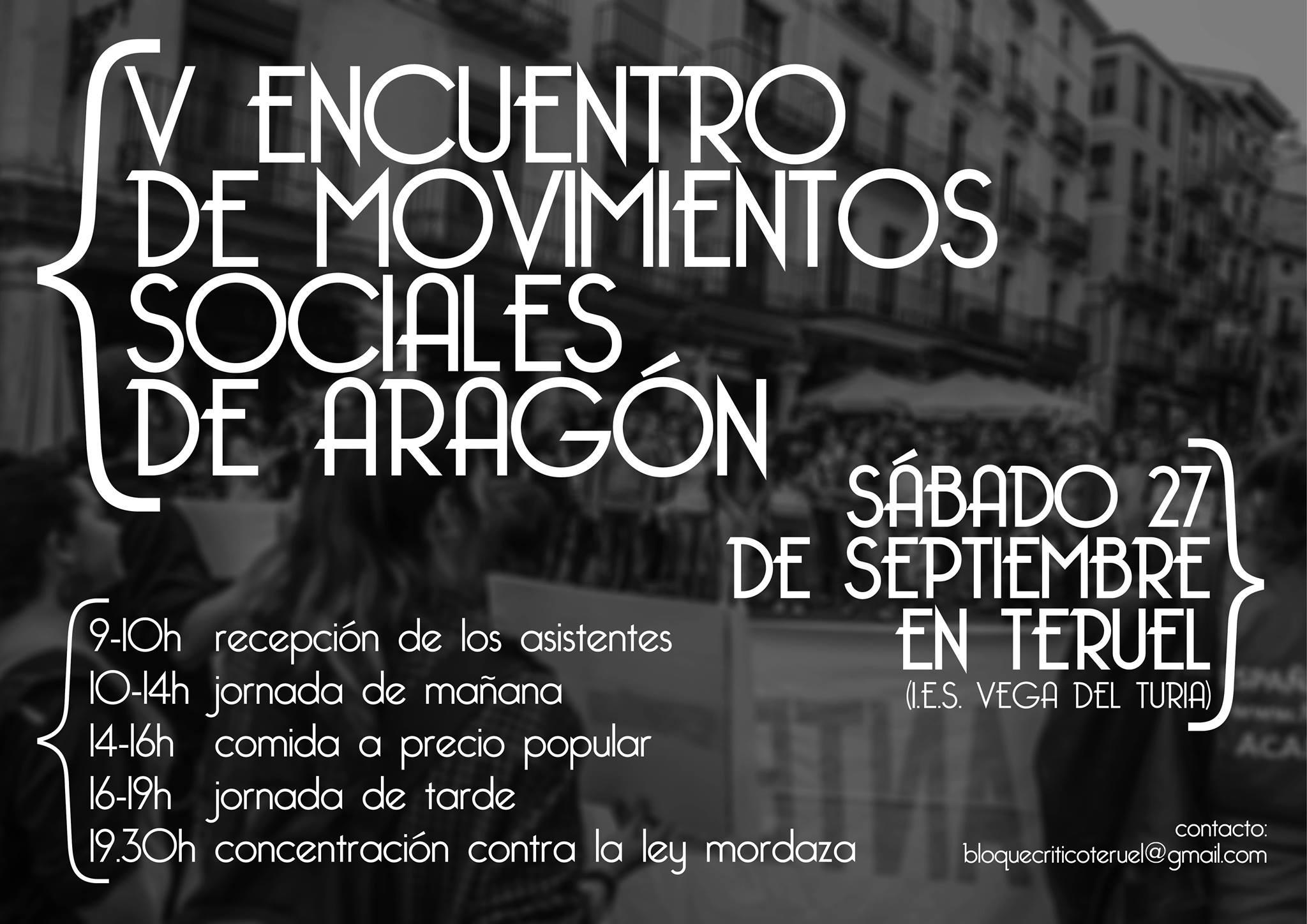 [ARAGÓN] [COORDINACIÓN] V ENCUENTRO MOVIMIENTOS SOCIALES ARAGÓN (27-9-14)