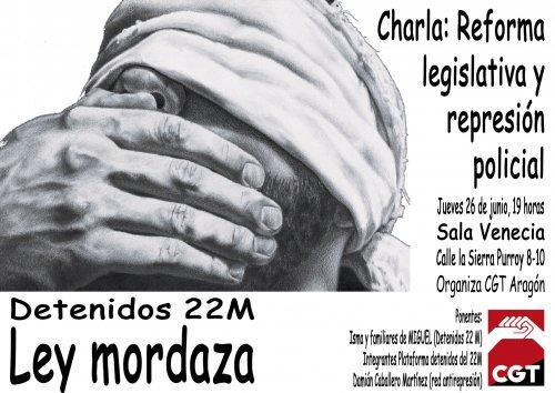 26J: Charla contra la Ley Mordaza en Zaragoza