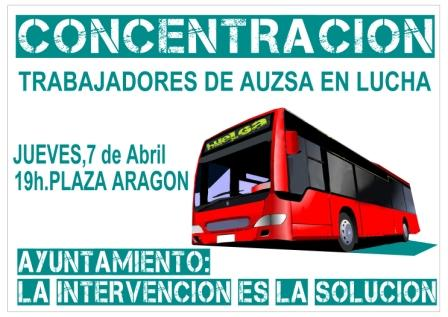 ZeC aumenta los servicios mínimos en la huelga de autobuses en Zaragoza. Concentración jueves 07 Abril