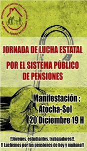 20-D: Jornada estatal de lucha en defensa de las pensiones públicas
