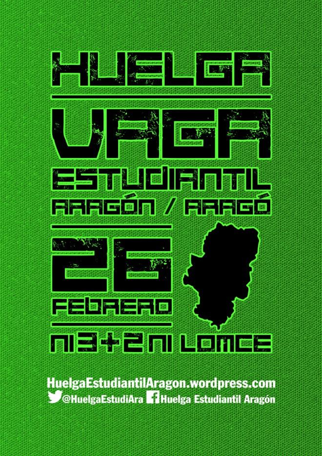 Aragón irá a la huelga estudiantil el 26F contra el 3+2
