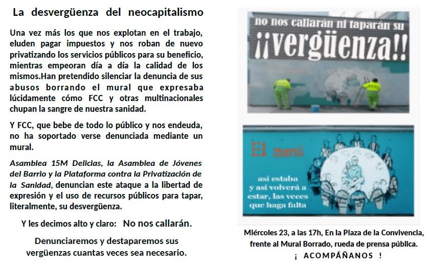 LA DESVERGÜENZA DEL NEOCAPITALISMO. Miércoles 23/03 Rueda de Prensa Publica.