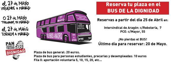 El 27 de Mayo volvemos a Madrid. Reserva billetes de bus. Marchas de la Dignidad