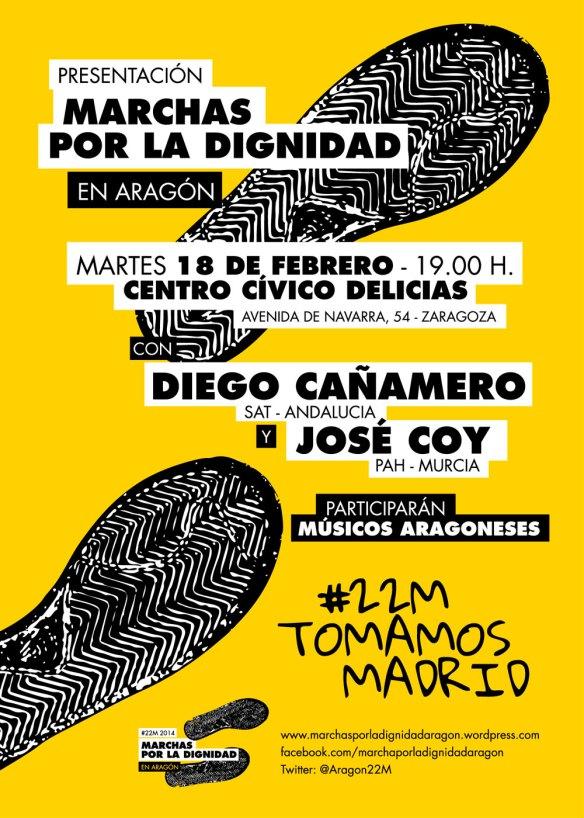 Presentación Marchas por la Dignidad en Aragón con Cañamero (SAT) y Coy (PAH-Murcia) en Zaragoza
