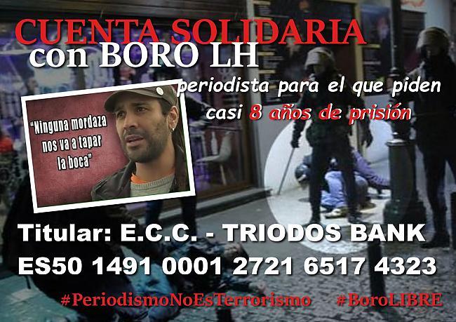 Y sigue el represor régimen fascista español contra la libertad de expresión. Boro, periodista de La Haine, piden casi 8 años de cárcel por informaciones veraces.