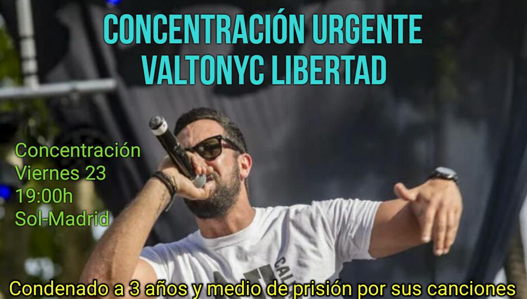 Noticias. Represión contra la libertad de expresión del estado fascista español (Valtonyc, Concentración por su libertad y censuran y retiran obras de arte)