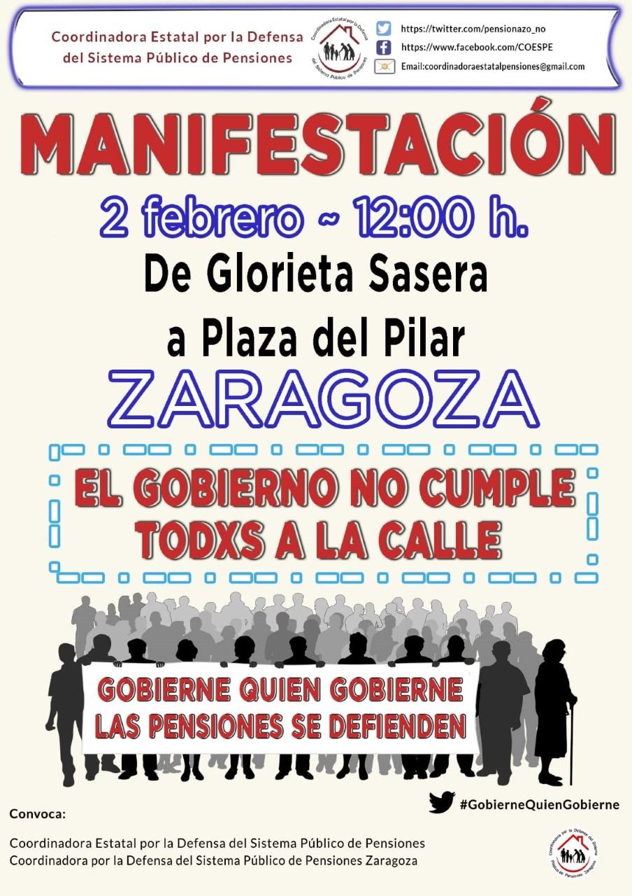 2 de Febrero. Manifestaciones en más de 100 ciudades por las pensiones públicas