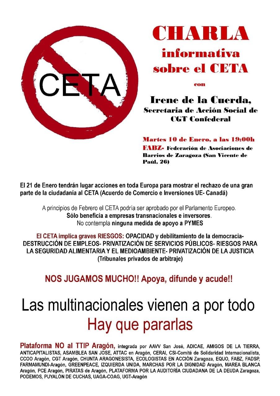Charla informativa CETA-TTIP. Martes, 10 enero 19:00 en la FABZ