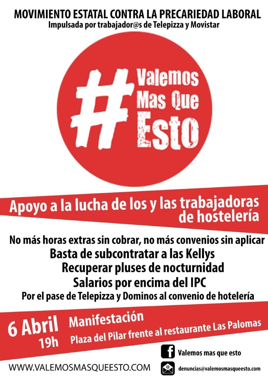 Manifestación en Zaragoza, jueves 6 de Abril, contra la precariedad.