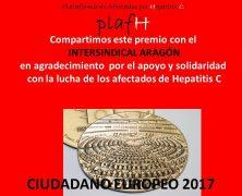 """""""CIUDADANO EUROPEO 2017″ PREMIO EUROPEO PARA LA PLAFHC"""""""