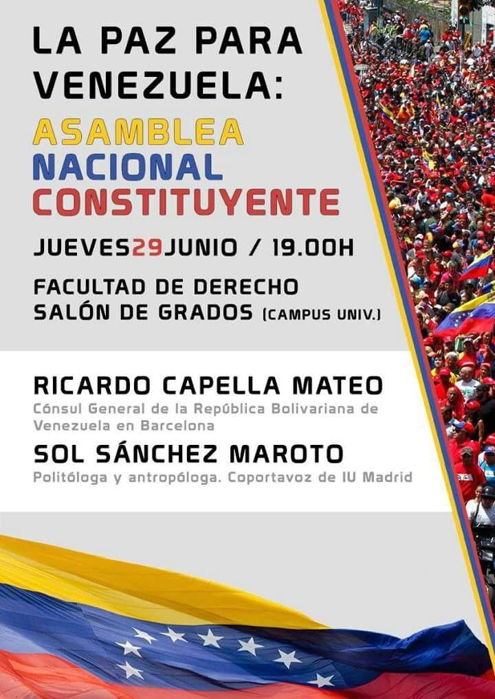 Charla en Zaragoza, jueves 29 de junio. LA PAZ PARA VENEZUELA: Asamblea nacional constituyente