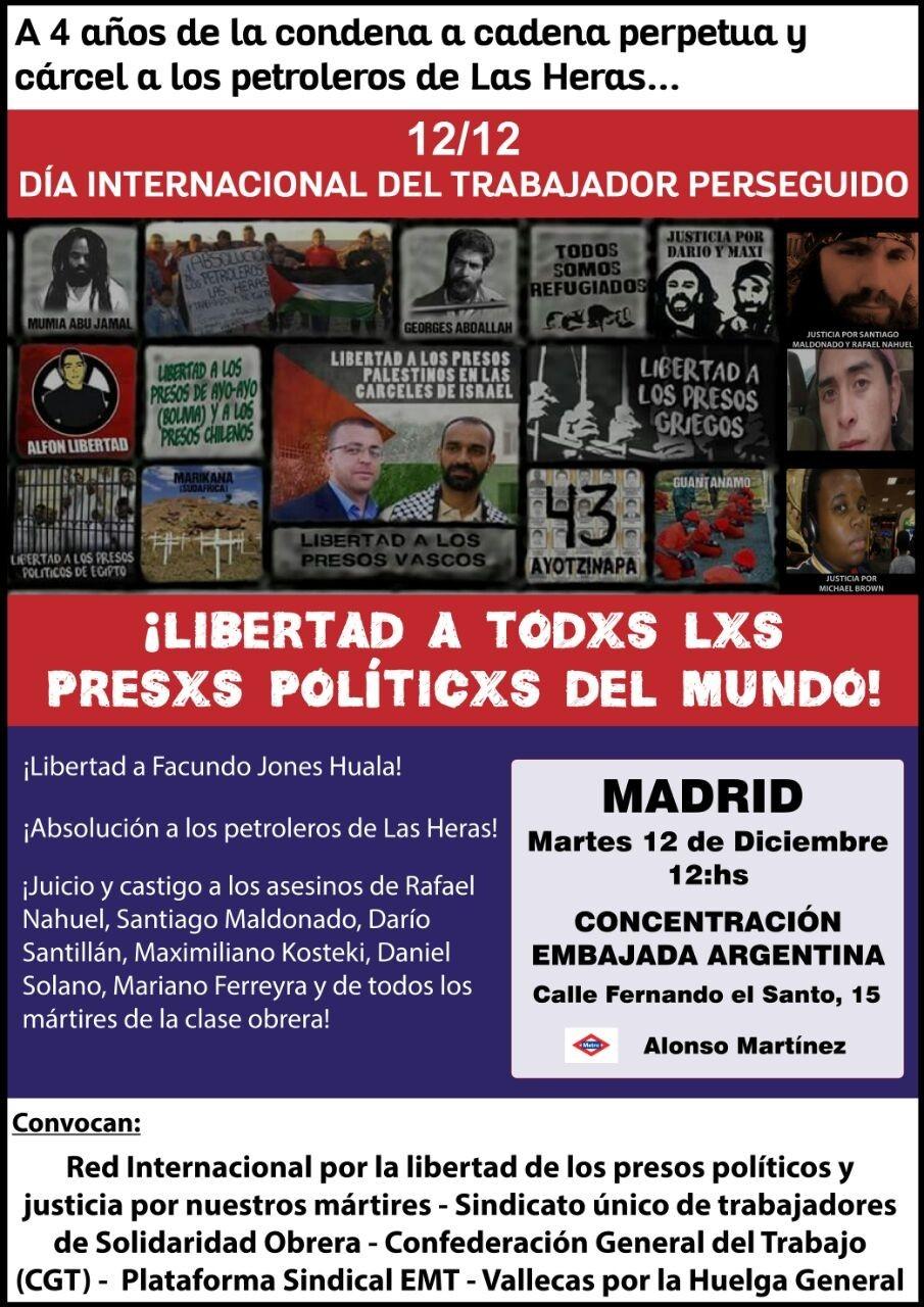 LIBERTAD A TODXS LXS PRESXS POLITICXS DEL MUNDO. Concentración en Madrid 12 de Diciembre