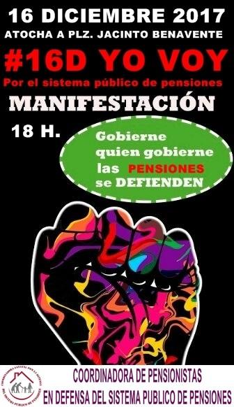 Gobierne quien gobierne, las pensiones se defienden. Madrid manifestación sábado 16.