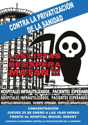 Marchas de la Dignidad en Aragón con la lucha contra las listas de espera. Video y Concentración jueves 25 de Enero