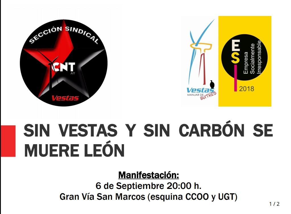 Sin Vestas y sin carbón, se muere León. Manifestación en León, jueves 6 de Septiembre