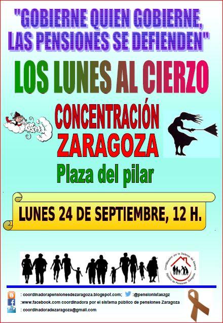 Los lunes al cierzo, Concentración de pensionista y jubilados en Zaragoza. 24 de Septiembre