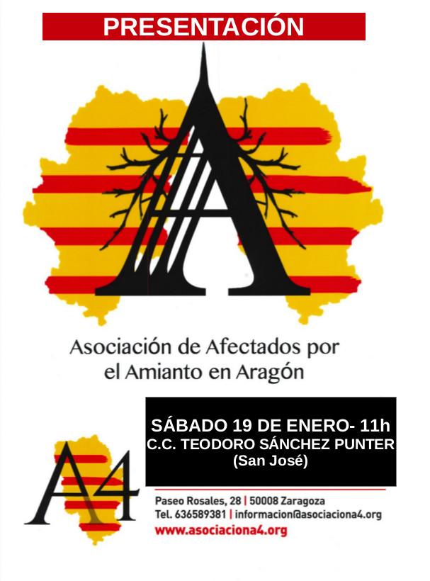 Presentación de la Asociación de Afectados/as por el Amianto en Aragón. A4. Sábado 19 de Enero en Zaragoza