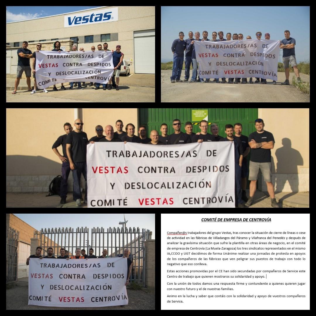 Comité y trabajador@s de Centrovía  de Vestas, se solidarizan con los compañer@s
