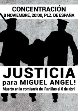 Concentración, 8 de Noviembre, 20 h. #JusticiaParaMiguelAngel. Plaza de España, Zaragoza