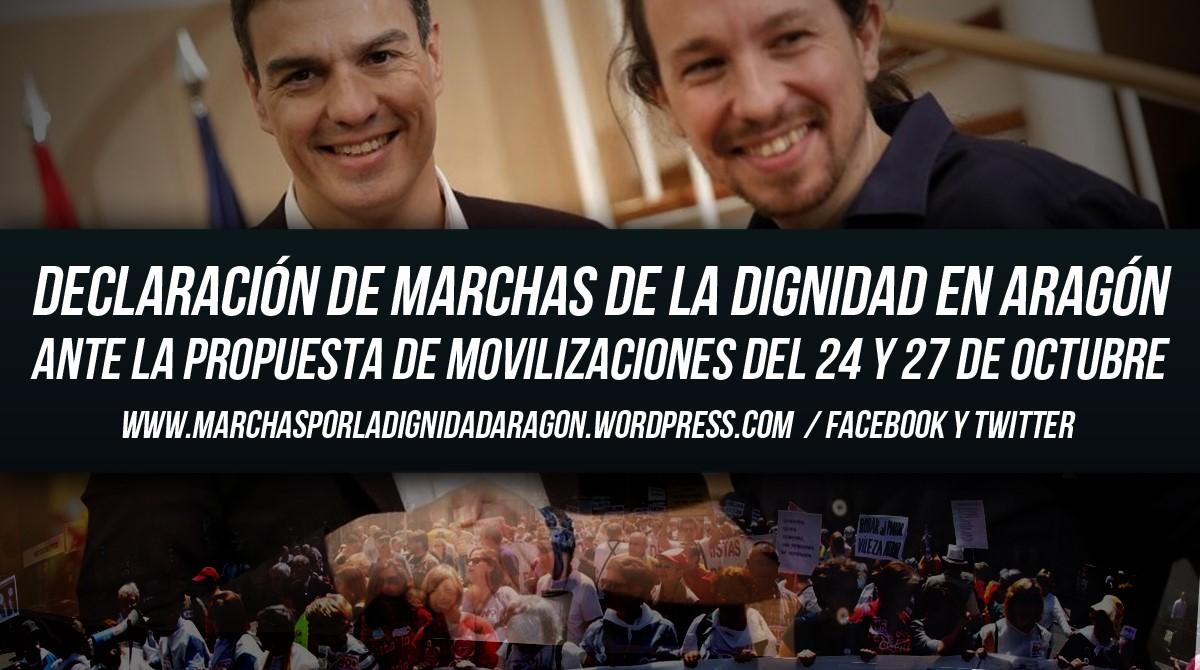 DECLARACIÓN POLÍTICA DE MARCHAS ARAGÓN  ANTE LAS MOVILIZACIONES DEL 24 Y 27 DEOCTUBRE.