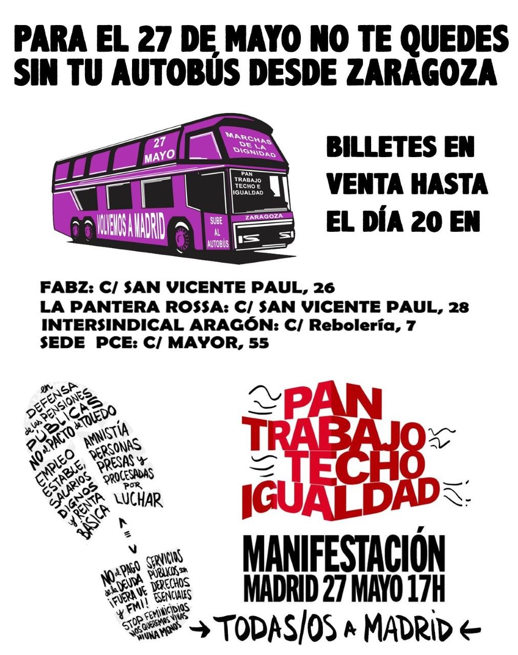 PARA EL 27 DE MAYO NO TE QUEDES SIN TU AUTOBUS DESDE ZARAGOZA, VOLVEMOS A MADRID