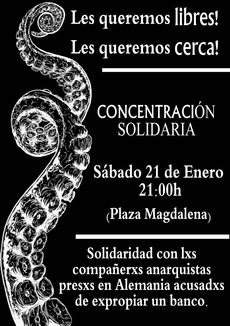 Concentración en Zaragoza, sabado 21, 20 h Plaza Madalena, compañerxs anarquistas presxs en Alemania