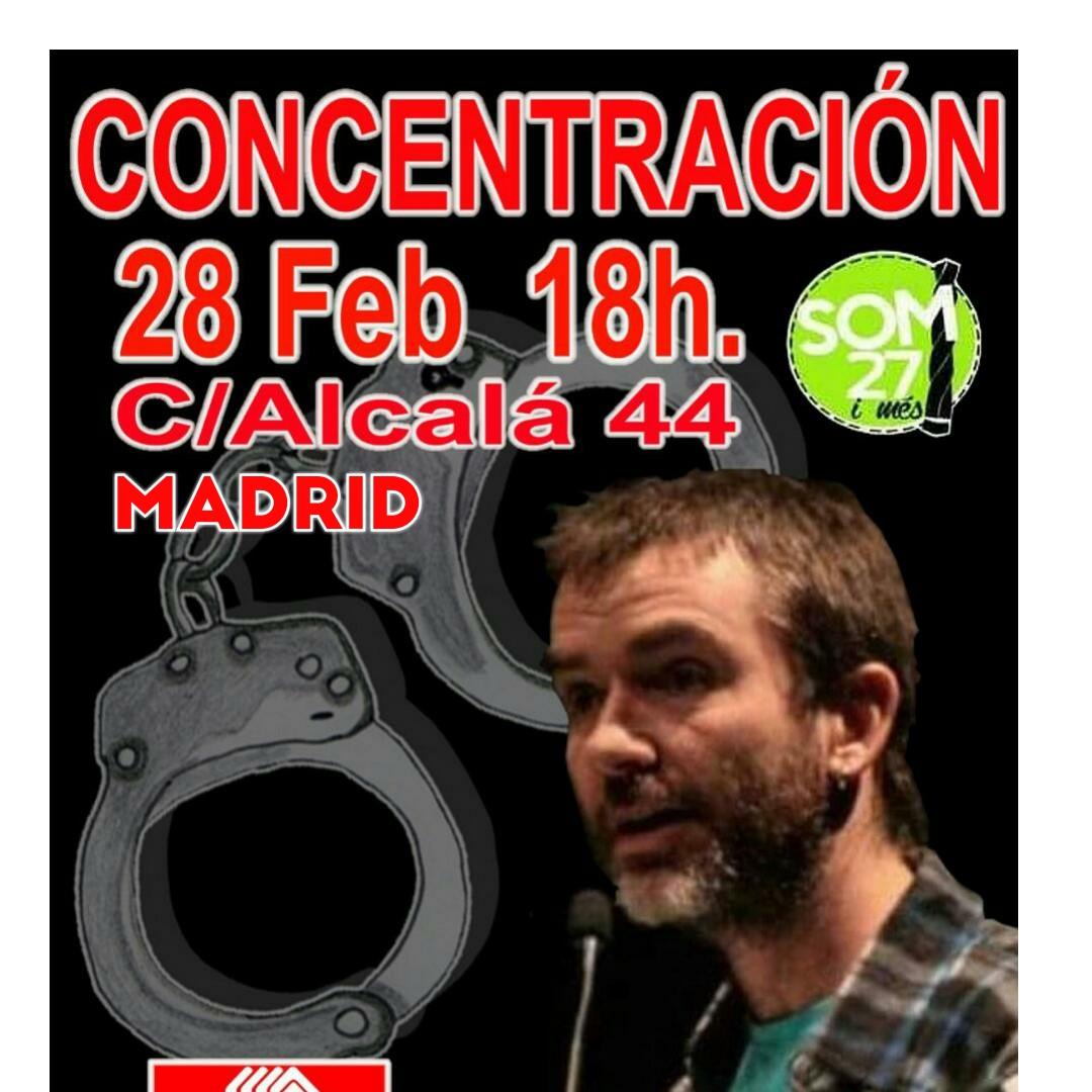 Y sigue la represión de este régimen fascista de español. Concentración ante la detención de Ermengol Gassiot, secretario general de CGT Barcelona.