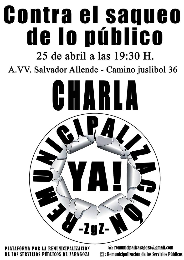 CHARLA POR LA REMUNICIPALIZACIÓN DE LOS SERVICIOS PÚBLICOS EN ZARAGOZA