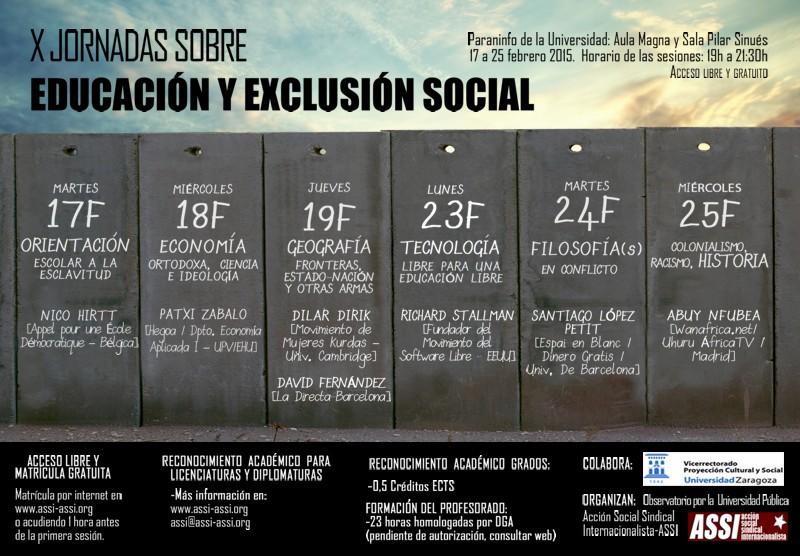 X Jornadas sobre educación y exclusión social