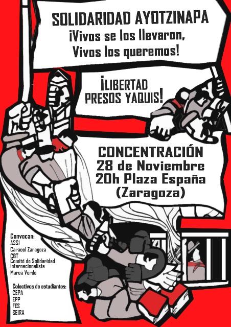 Concentración en apoyo a los estudiantes de Ayotzinapa y tribu Yaqui (México)