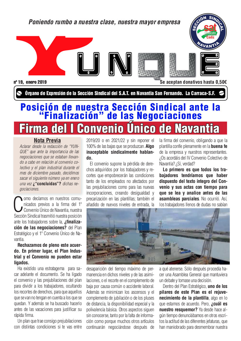 Yunque Nº 19, Enero 2019. Sección Sindical del SAT Navantia. Boletin informativo a los trabajadores