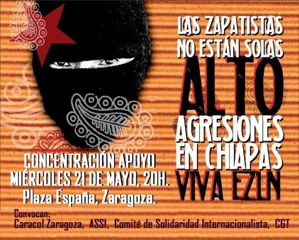 Acciones de apoyo a los compas zapatistas en Zaragoza